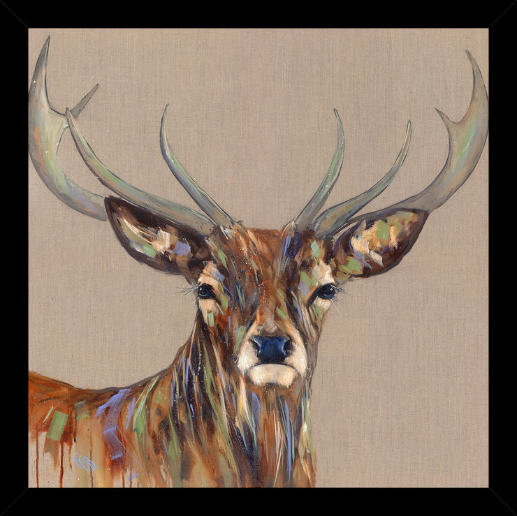 CLICK & COLLECT Bold Stag framed print by Louise Luton