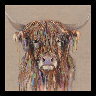 CLICK & COLLECT Bold Cow framed print by Louise Luton