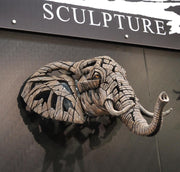 African Elephant Bust Wall Mounted by Edge Sculpture