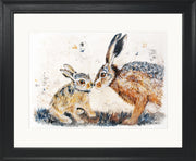 Leveret Love limited edition print by Lesley Palmer Framed Black