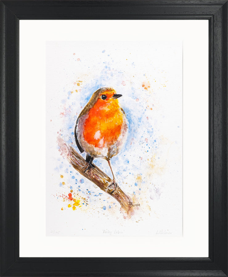 Rocky Robin Limited Edition Print by Lesley Palmer Framed Black
