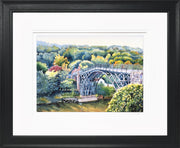 Ironbridge Shropshire Limited Edition Print by Sue Payton Black Frame
