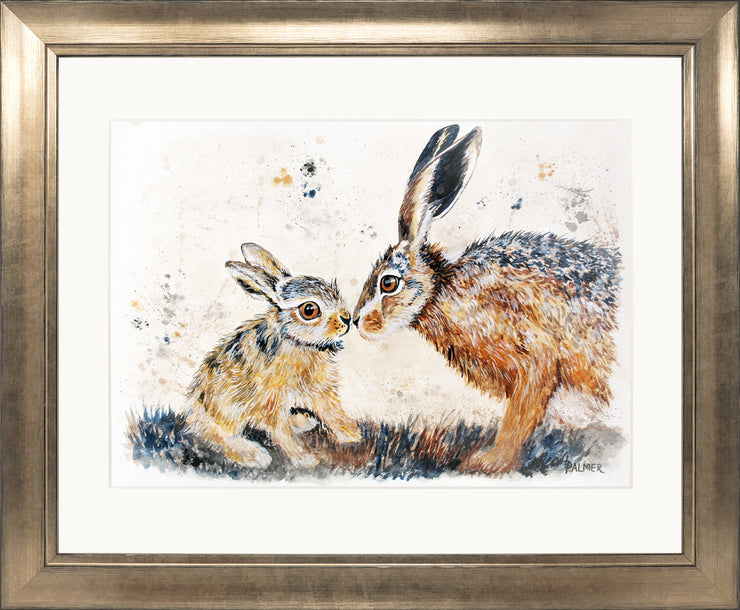 Leveret Love limited edition print by Lesley Palmer Framed Bronze