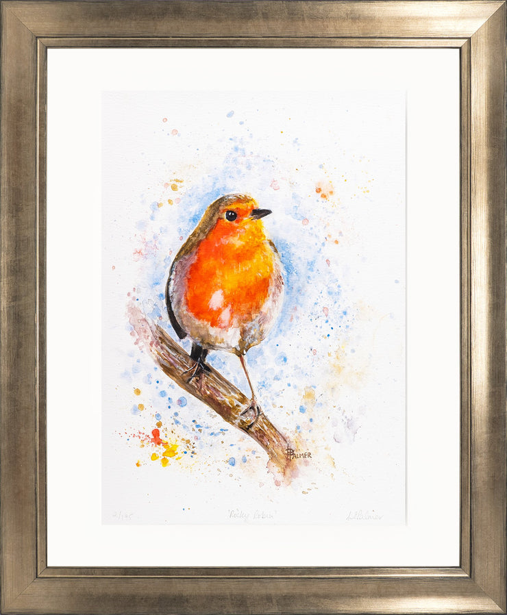 Rocky Robin Limited Edition Print by Lesley Palmer Framed Bronze