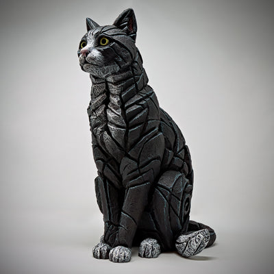 Cat Sitting - Black & White by Edge Sculpture