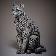Cat Sitting White by Edge Sculpture