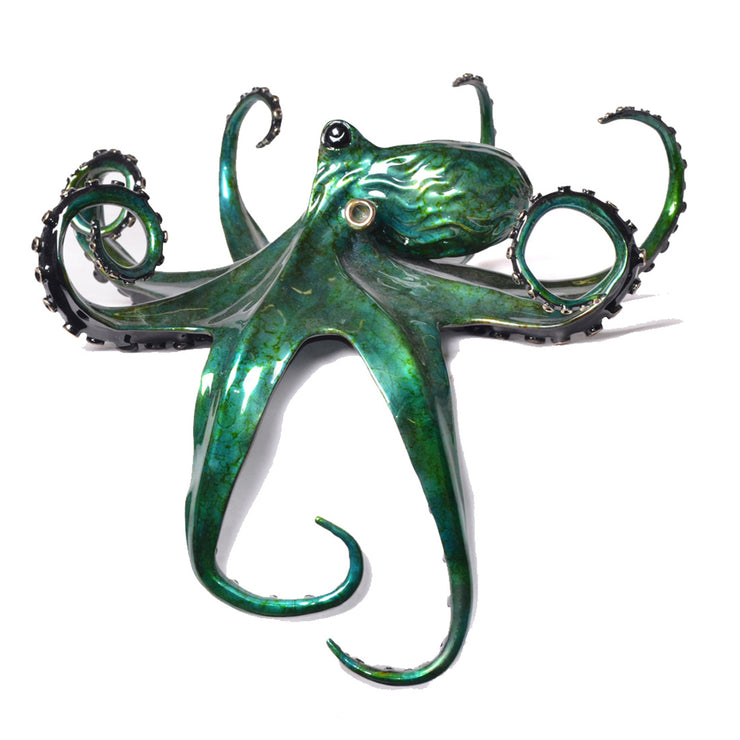 Aquamarine Bronze Octopus Sculpture by Chris Barela