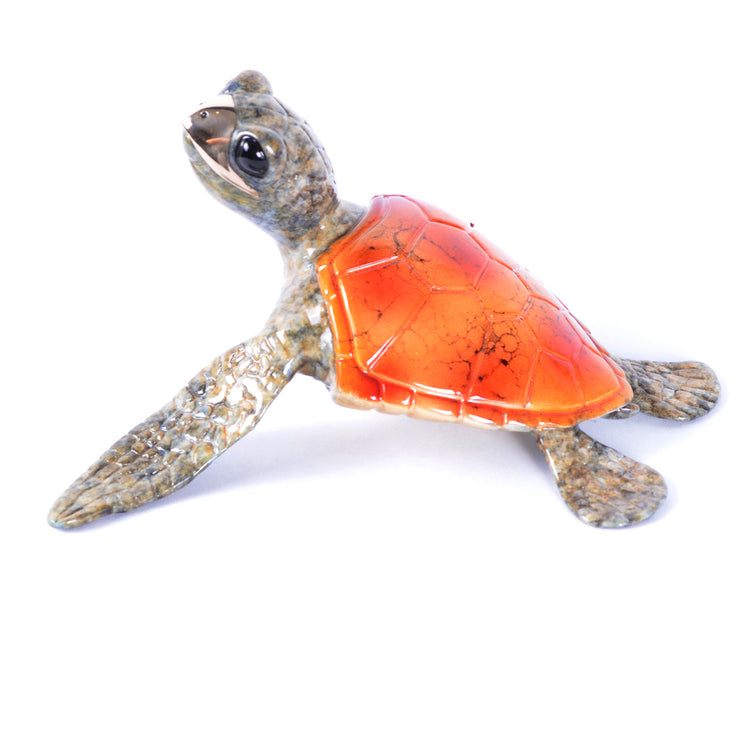 Speedy Orange Bronze Sea Turtle Sculpture by Chris Barela