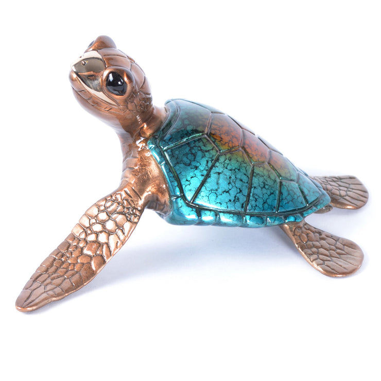 Speedy Blue Bronze Sea Turtle Sculpture by Chris Barela