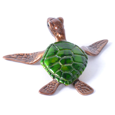 Slow Poke Green Sea Turtle Sculpture by Chris Barela