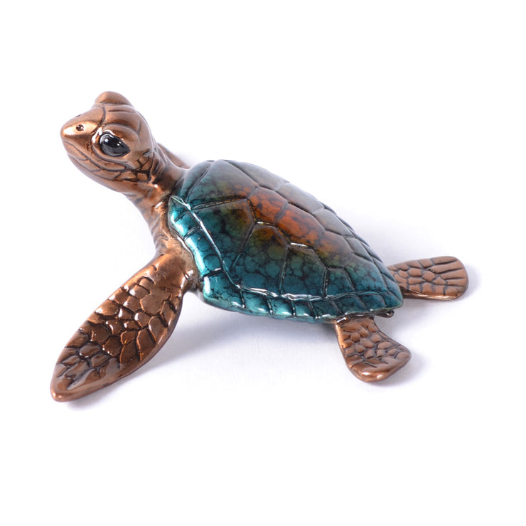 Slow Poke Blue Bronze Sea Turtle Sculpture by Chris Barela