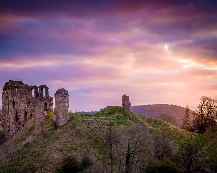Clun Castle at Dawn Print by Lindsey Bucknor