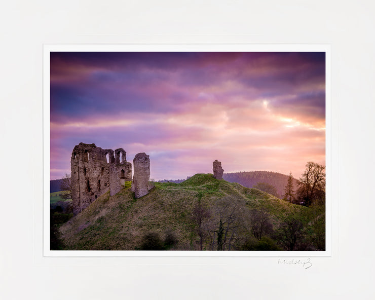 Clun Castle at Dawn Print by Lindsey Bucknor Mounted
