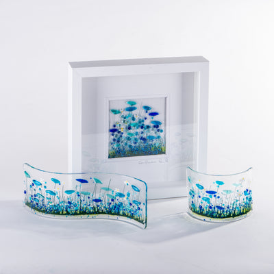Cornflower fused glass art by Pam Peters