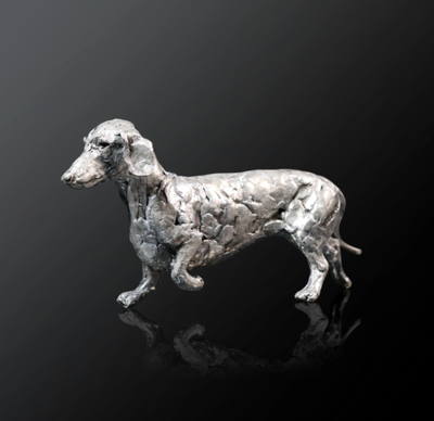 Dachshund nickel resin sculpture from Richard Cooper Studio