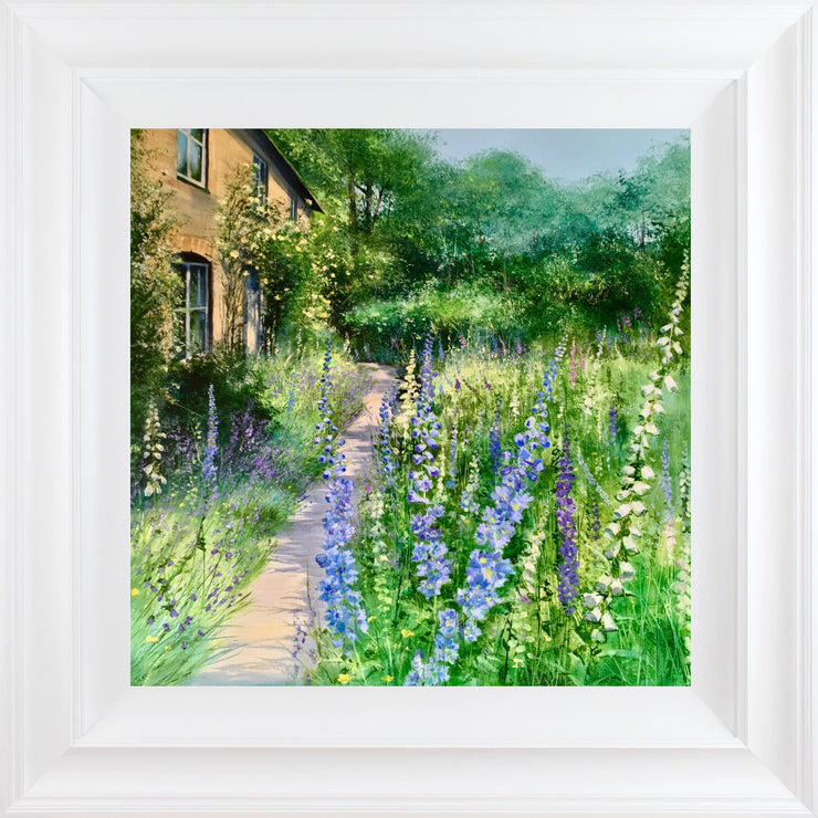 Delphinium Cottage limited edition print by Heather Howe