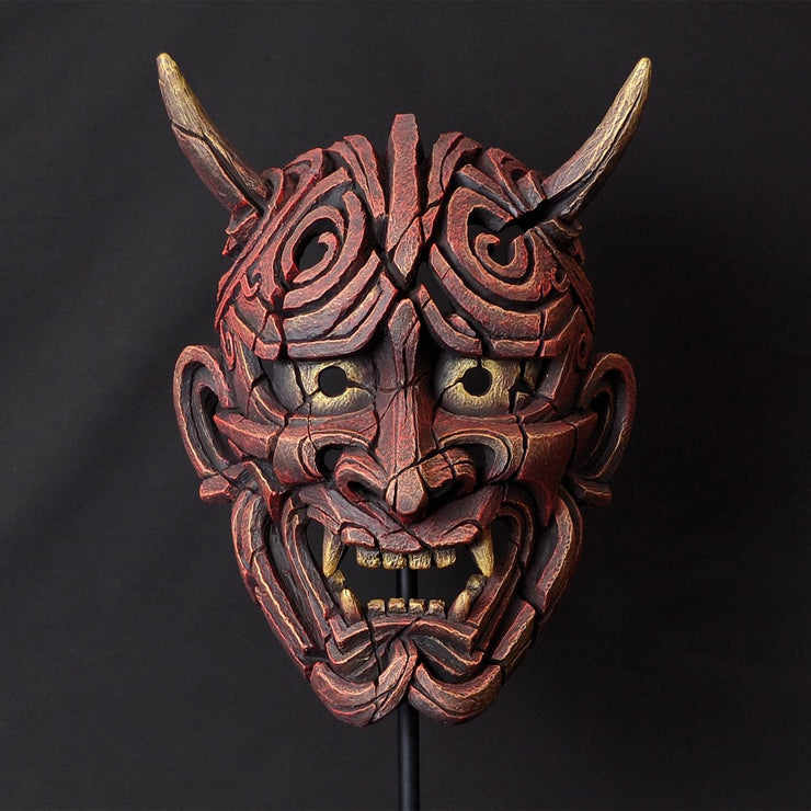 Japanese Hannya Mask Antique Red from Edge Sculpture by Matt Buckley