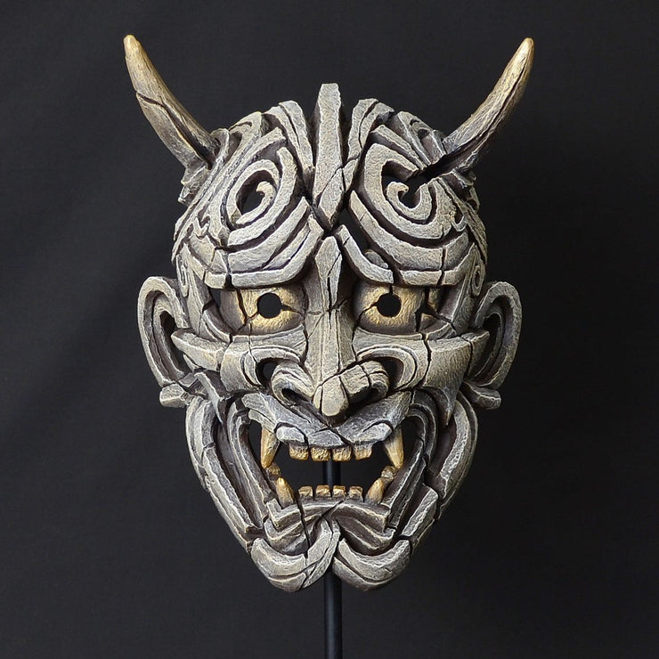 Japanese Hannya Mask Antique White from Edge Sculpture by Matt Buckley