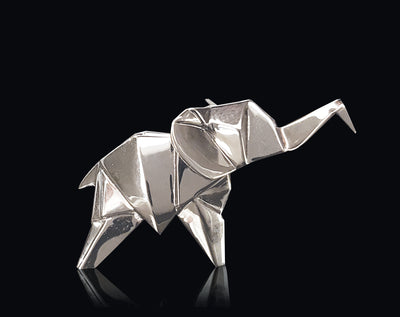Elephant Sterling Silver Origami Sculpture by Sophie Mackrell
