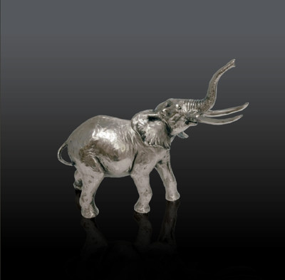 Elephant nickel resin sculpture from Richard Cooper Studio