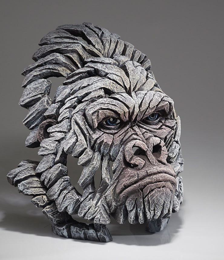 Gorilla Bust - White by Edge Sculpture