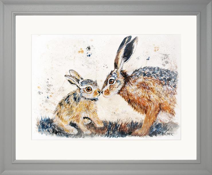 Leveret Love limited edition print by Lesley Palmer Framed Grey