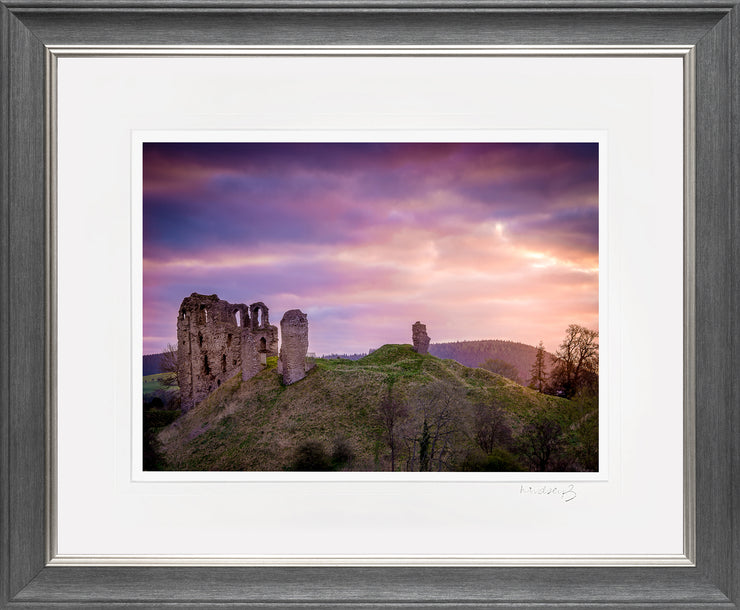 Clun Castle at Dawn Print by Lindsey Bucknor Grey Silver Frame