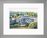 Ironbridge Shropshire Limited Edition Print by Sue Payton Grey Frame