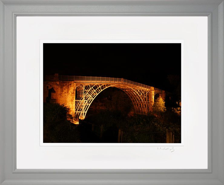 Ironbridge at Night Print by Lindsey Bucknor Grey Frame