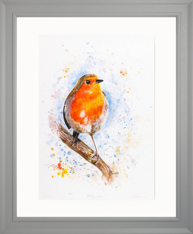 Rocky Robin Limited Edition Print by Lesley Palmer Framed Grey
