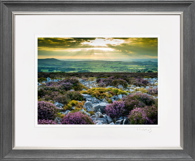 Stiperstones Sunset Print by Lindsey Bucknor Grey Silver Frame