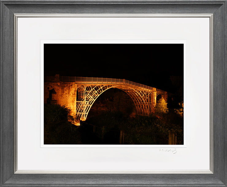 Ironbridge at Night Print by Lindsey Bucknor Grey Silver Frame
