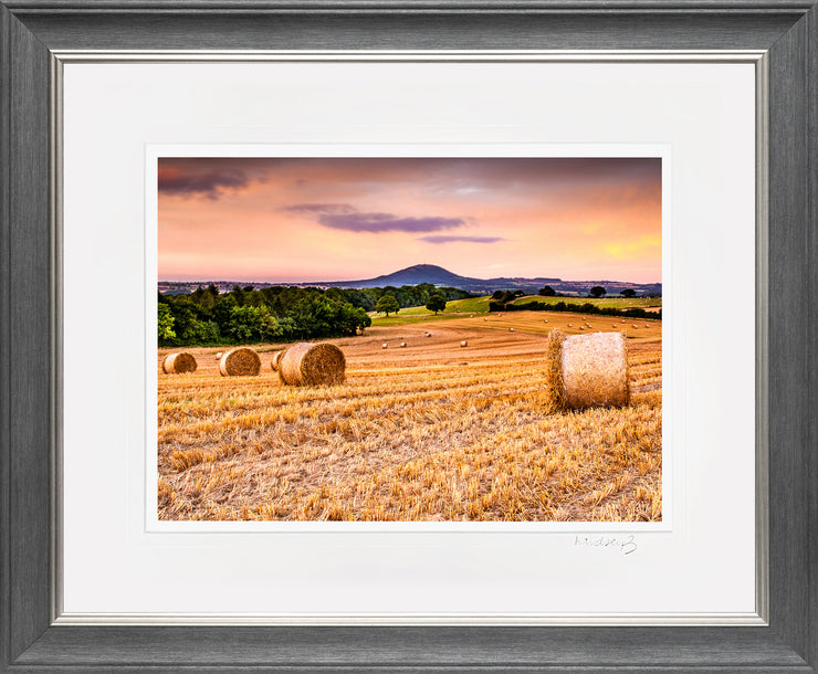 Wrekin Sunset Print by Lindsey Bucknor Grey Silver Frame