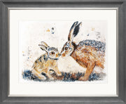 Leveret Love limited edition print by Lesley Palmer Framed Grey Silver