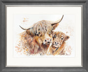 Isobel's Bairn Limited Edition Print by Lesley Palmer Framed Grey Silver