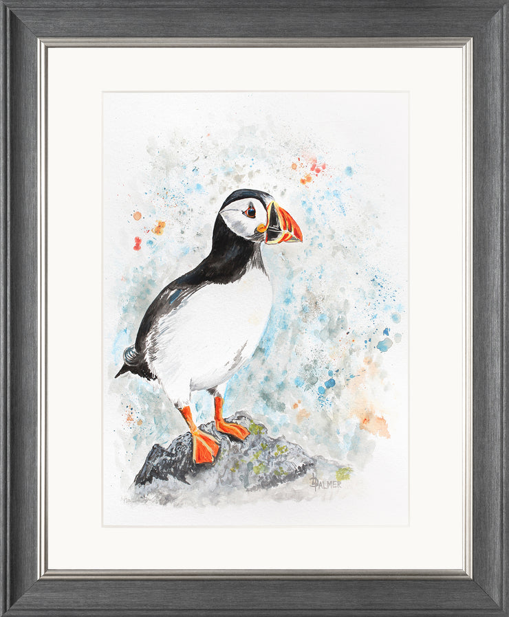 Perching Peter limited edition print by Lesley Palmer Framed Grey Silver