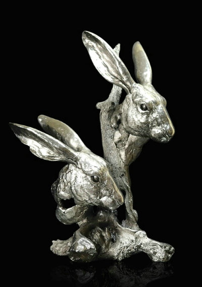 Hares nickel resin sculpture from Richard Cooper Studio