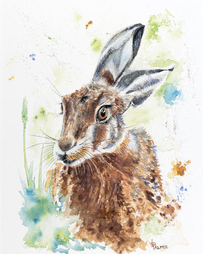 Hark Back Hare Limited Edition Print by Lesley Palmer