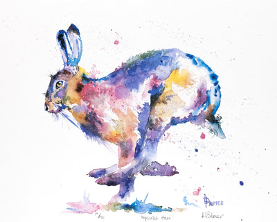 Hopscotch Hare Limited Edition Print by Lesley Palmer