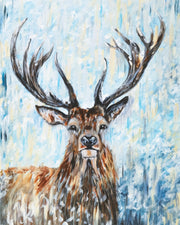 Stormy Stag Limited Edition Print by Lesley Palmer