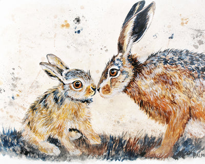 Leveret Love limited edition print by Lesley Palmer