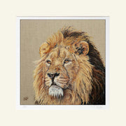 Lion Print by Sue Payton Mounted