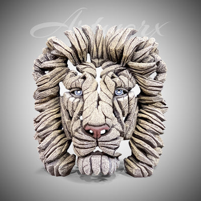 Lion Bust White from Edge Sculpture by Matt Buckley