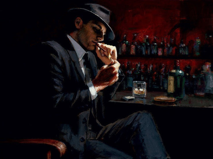 Man Lighting Cigarette III limited edition print by Fabian Perez