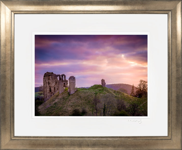 Clun Castle at Dawn Print by Lindsey Bucknor Bronze Frame
