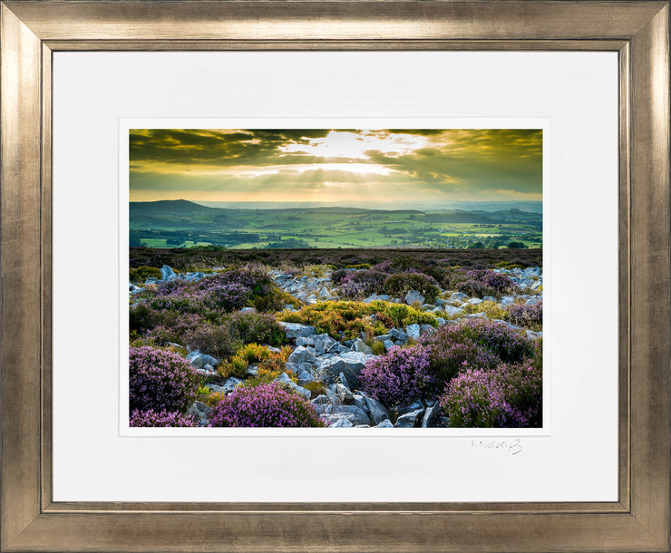 Stiperstones Sunset Print by Lindsey Bucknor Bronze Frame