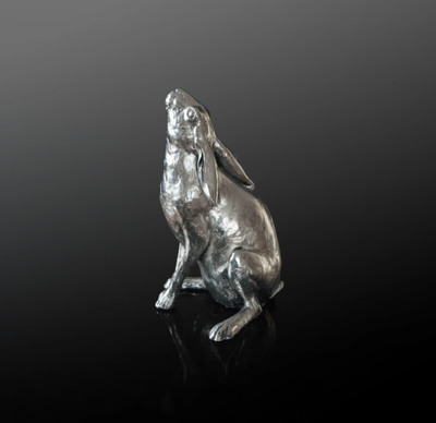 Moon Gazing Hare nickel resin sculpture from Richard Cooper Studio