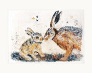 Leveret Love limited edition print by Lesley Palmer Mounted