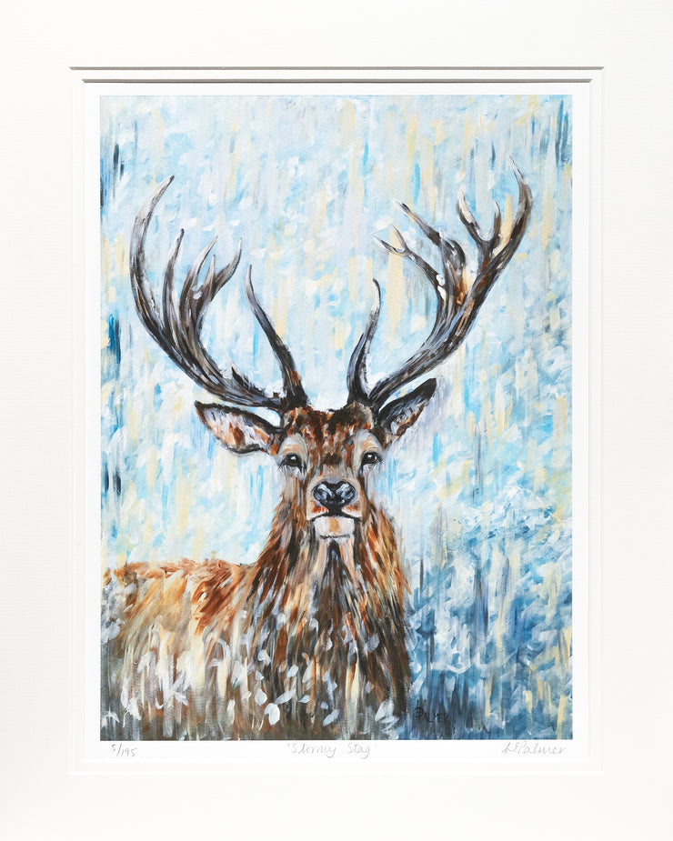 Stormy Stag Limited Edition Print by Lesley Palmer Mounted