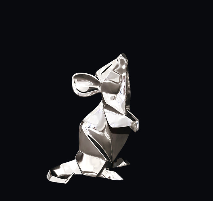 Mouse Sterling Silver Origami Sculpture by Sophie Mackrell